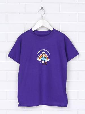 Футболка фіолетова з принтом | 5394450