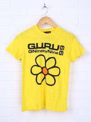 Футболка жовта з принтом | 5394455