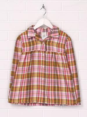 Рубашка розово-коричневая в клетку | 5394483