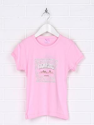 Футболка рожева з принтом | 5394530