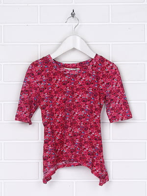 Блуза малинова з принтом | 5394544