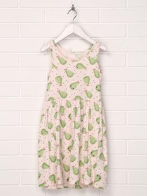 Сукня молочного кольору з принтом   5394631