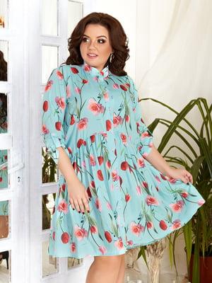 Сукня бірюзова з принтом | 5394952