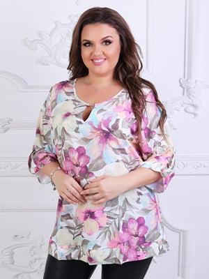 Блуза белая с принтом | 5394955