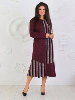 Сукня кольору марсали в смужку | 5394959