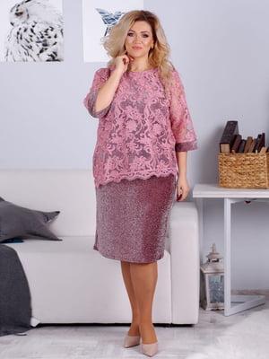 Сукня кольору пудри з декором | 5394960