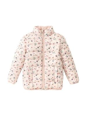 Куртка пудрового цвета в принт | 5395027