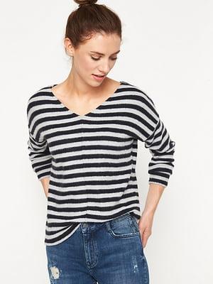 Пуловер сірий в смужку | 5395169