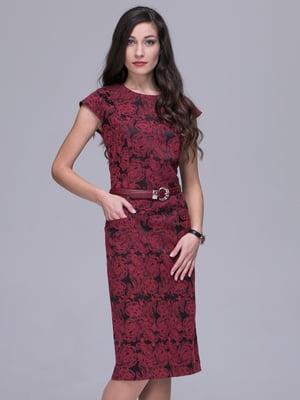 Платье бордовое в цветочный принт | 5283201
