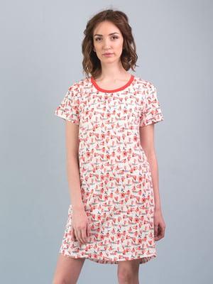 Рубашка ночная белая с принтом   5395102