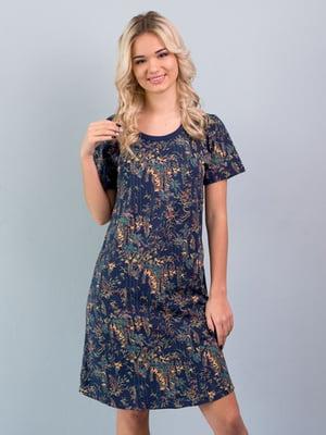 Рубашка ночная темно-синяя с принтом | 5395103