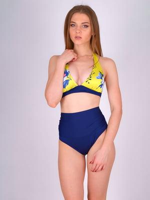 Купальник сине-желтый с цветочным принтом | 5396745