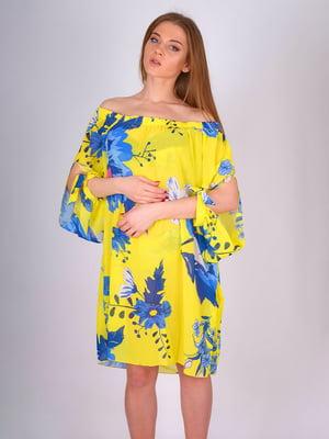 Туніка пляжна жовта з квітковим принтом | 5396748