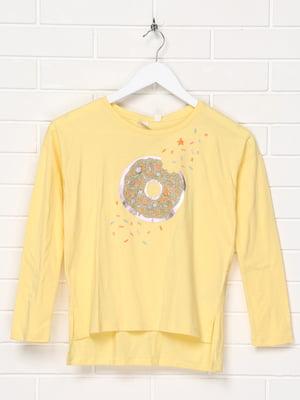 Лонгслив желтый с принтом | 5397101