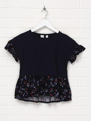 Блуза темно-синя з принтом | 5397111
