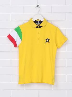 Футболка-поло жовта з принтом | 5397138