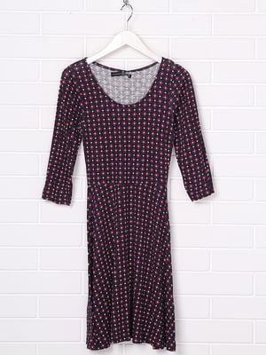 Сукня бордова з принтом | 5397146