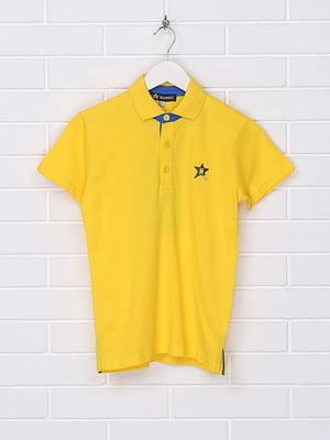 Футболка-поло жовта з принтом | 5397166