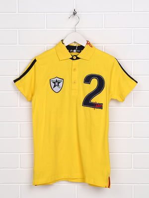 Футболка-поло жовта з принтом | 5397482