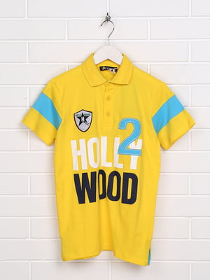 Футболка-поло жовта з принтом | 5397483