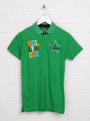 Футболка-поло зелена з принтом | 5397484