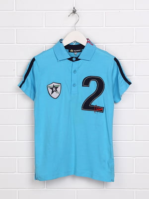 Футболка-поло блакитна з принтом | 5397485