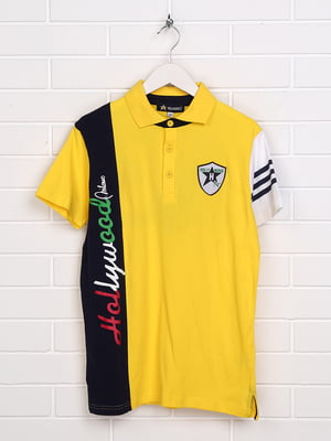 Футболка-поло жовта з принтом | 5397495
