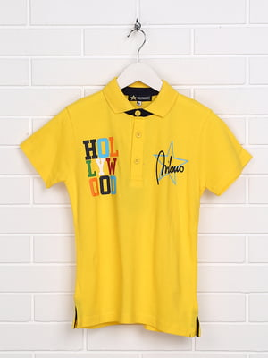 Футболка-поло жовта з принтом | 5397520