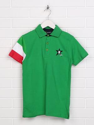 Футболка-поло зелена з принтом | 5397553