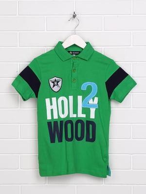 Футболка-поло зелена з принтом | 5397556
