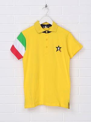 Футболка-поло жовта з принтом | 5397564