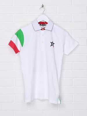 Футболка-поло біла з принтом | 5397565