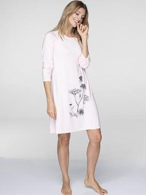 Рубашка домашняя розовая с принтом | 5397793