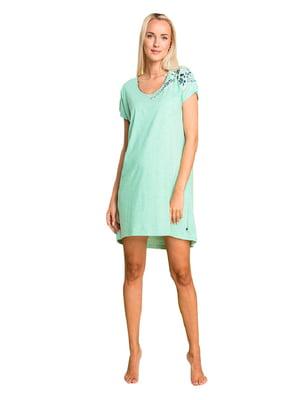 Рубашка домашняя мятного цвета с принтом | 5397795