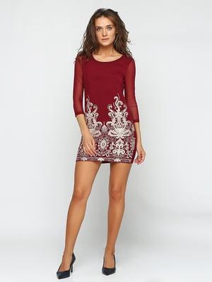 Сукня бордова з вишивкою | 5399278