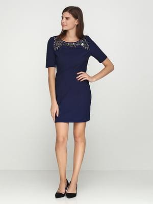 Платье синее с декором | 5399290