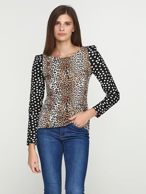 Блуза з принтом і горохом на рукаві | 5399292
