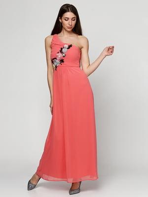 Сукня коралового кольору з декором | 5399328