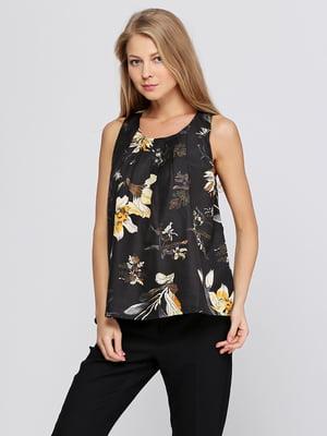 Блуза черная с принтом | 5399349