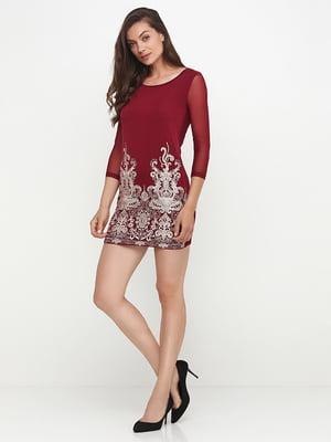 Сукня бордова з вишивкою | 5399394