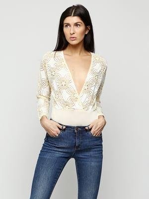 Блуза-боди кремового цвета с декором   5399366