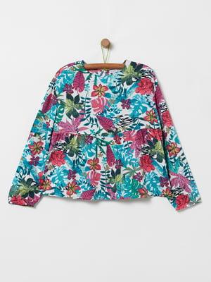 Блуза різнокольорова в квітковий принт | 5384410