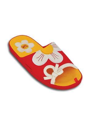 Тапочки красные с декором   5400817