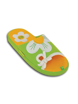 Тапочки салатового цвета с декором   5400822