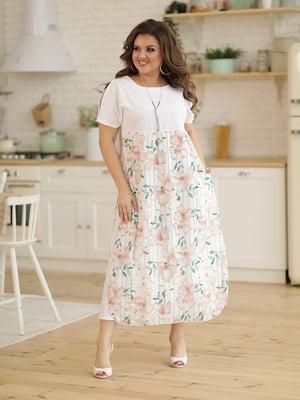 Сукня біла з принтом | 5401045