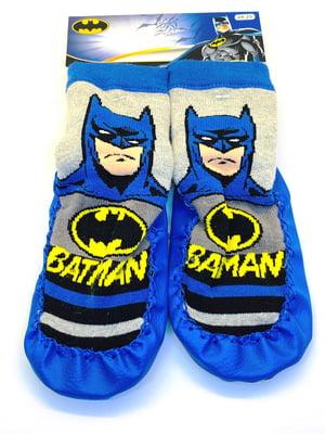 Шкарпетки-тапочки синьо-жовті з принтом | 5401430