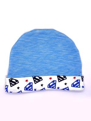 Шапка синя з принтом | 5401458