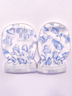 Царапки біло-сині з принтом | 5401521