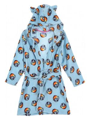 Халат голубой с принтом | 5401659