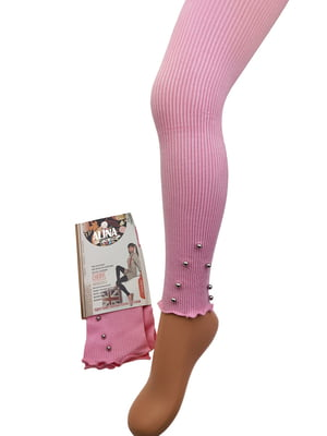 Легінси рожеві з декором | 5401689